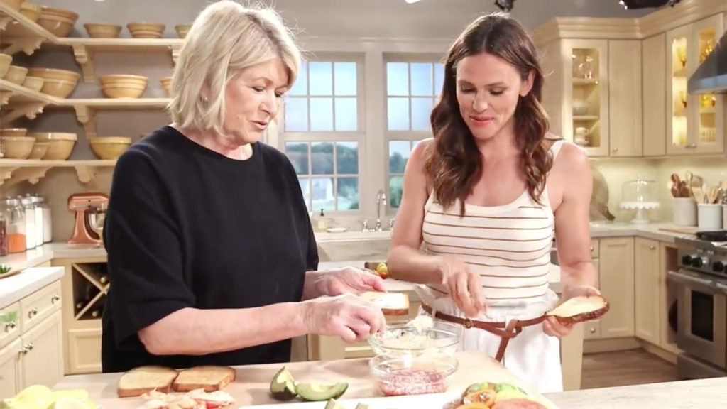 Martha Stewart and Jennifer Garner preparing a recipe on Facebook live