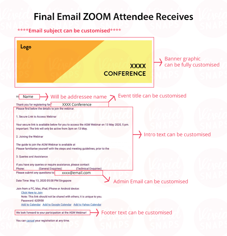 Zoom Attendee Customisation Email