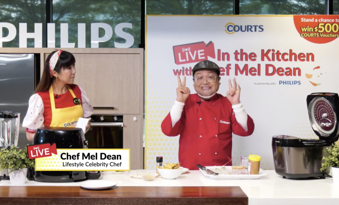 Celebrity Chef Mel Dean hosting a cooking live stream for Courts