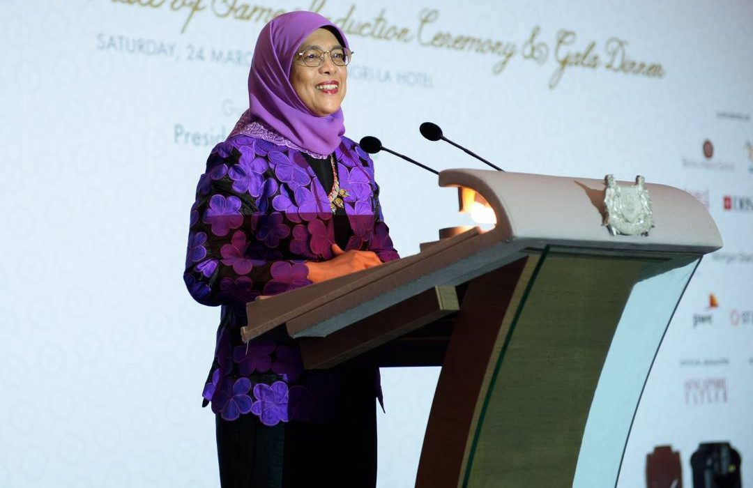 President Halimah Yacob giving a speech