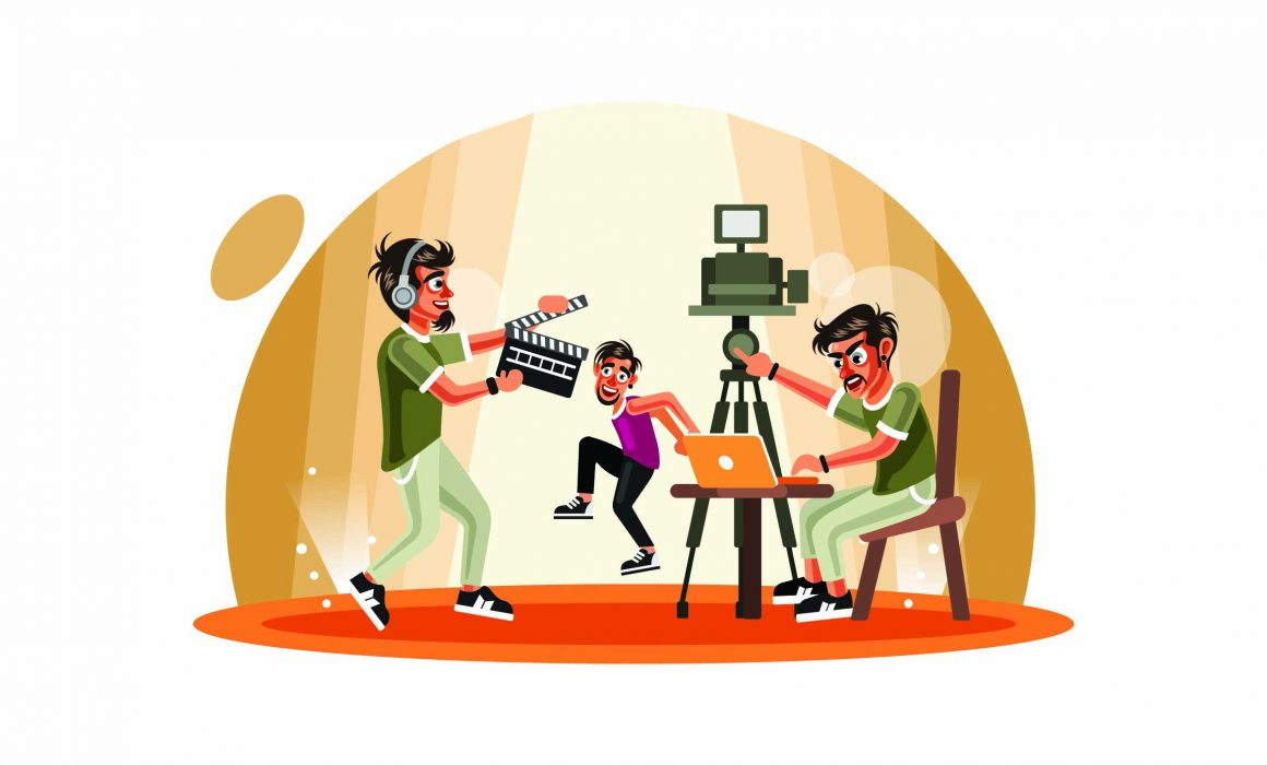 A generic graphic of a video production crew filming a corporate music video