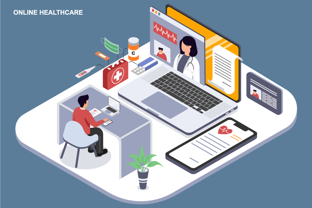 A generic graphic of healthcare professionals using a laptop