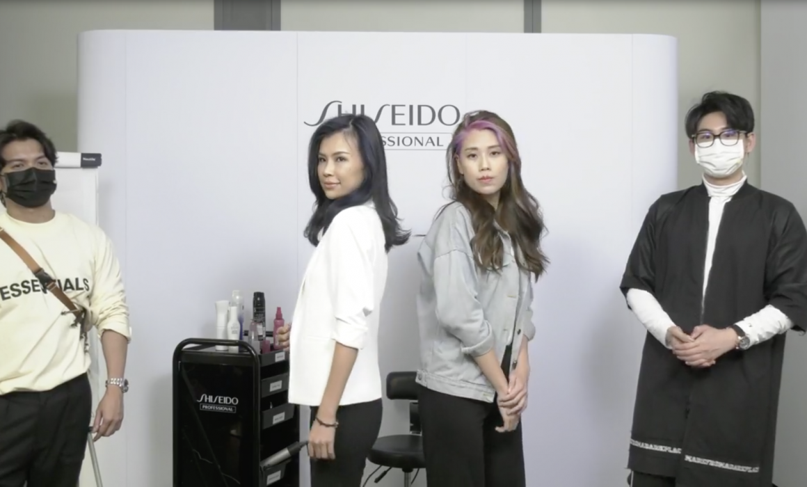 Shiseido hair artists standing next to their models who are posing for the camera