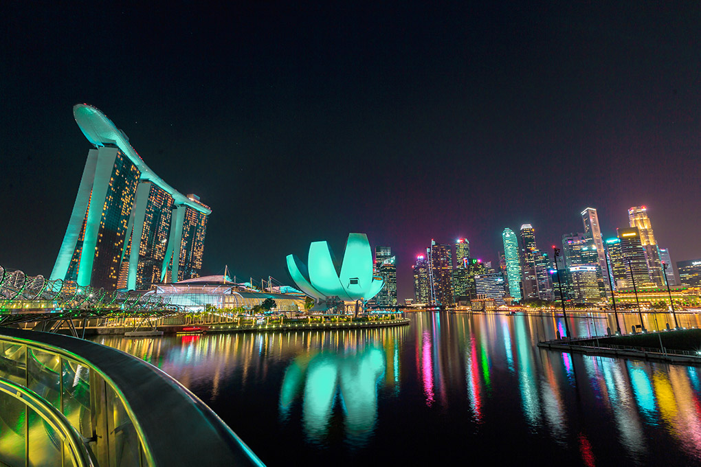 A night view of the Marina Bay skyline