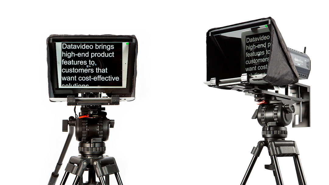 Two teleprompters side by side