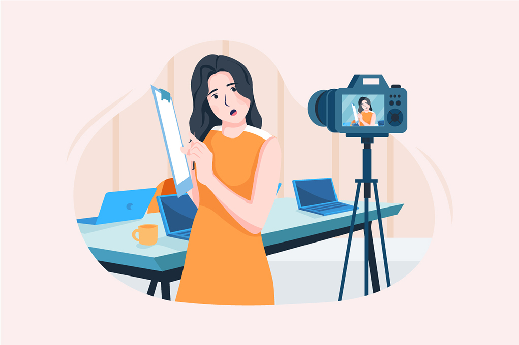 A generic graphic showing a lady filming herself