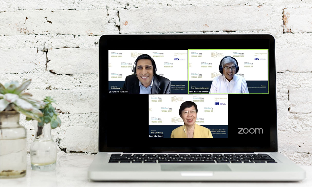 A screenshot of a zoom webinar with 3 speakers being pinned on the screen