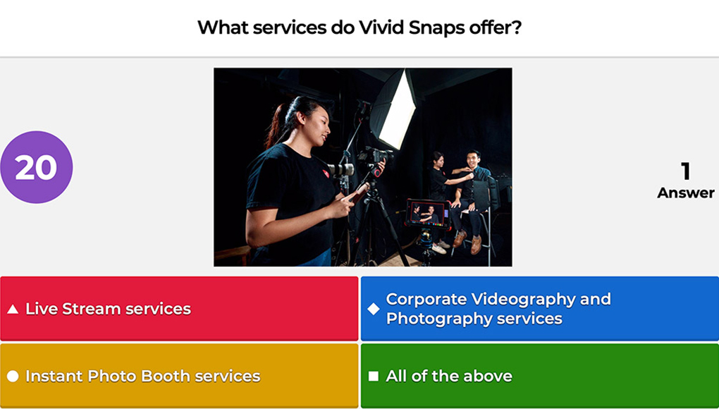 """A mockup of a kahoot question asking """"what services do Vivid Snaps offer?"""""""