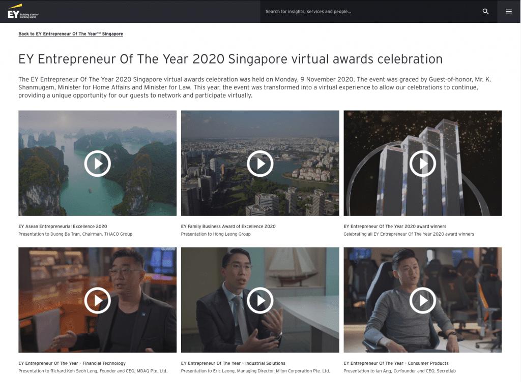 Virtual Awards Ceremony Website