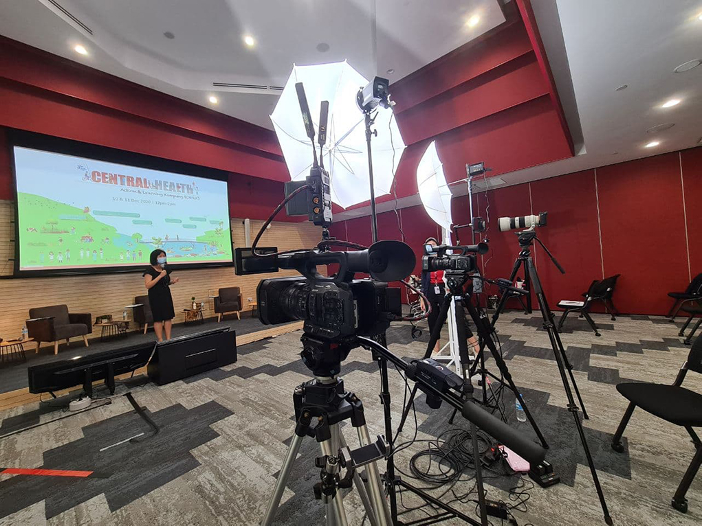 GeBiz Zoom Webinar Live Streaming Production At Client Office Auditorium