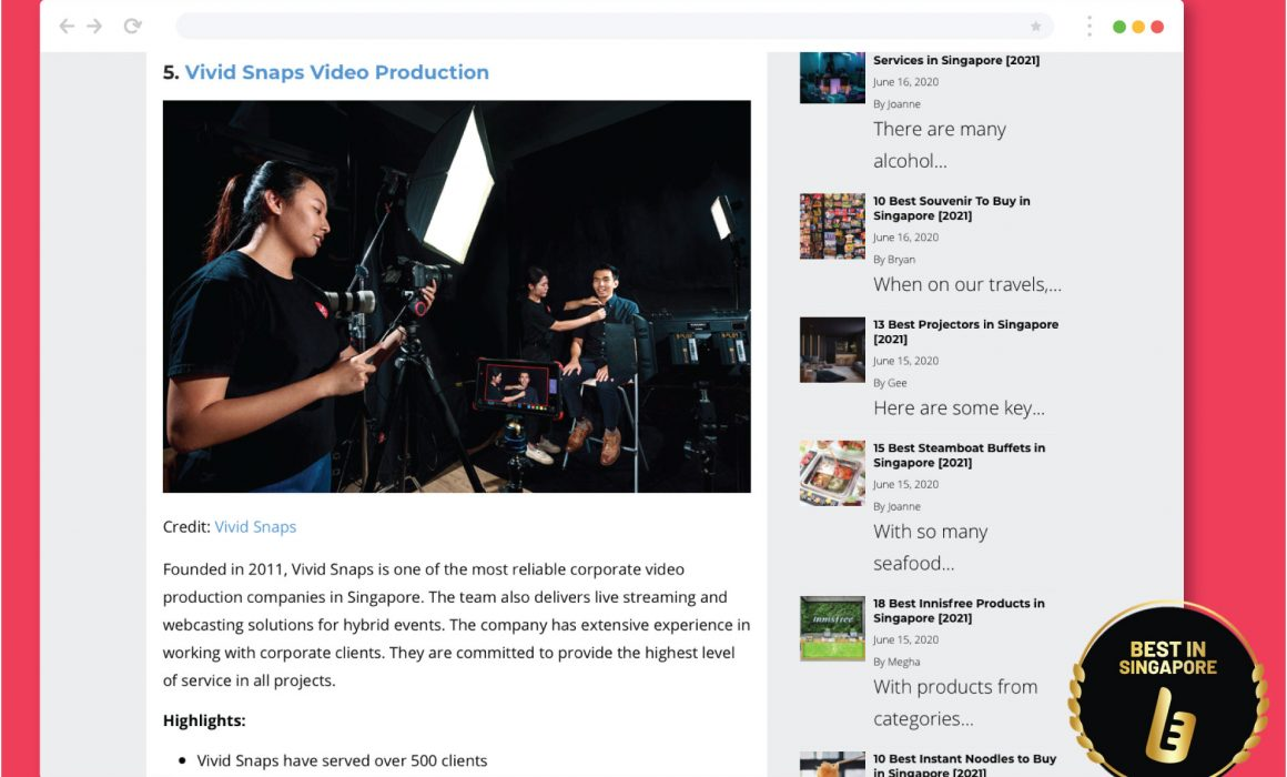 Featured Videographer in Singapore