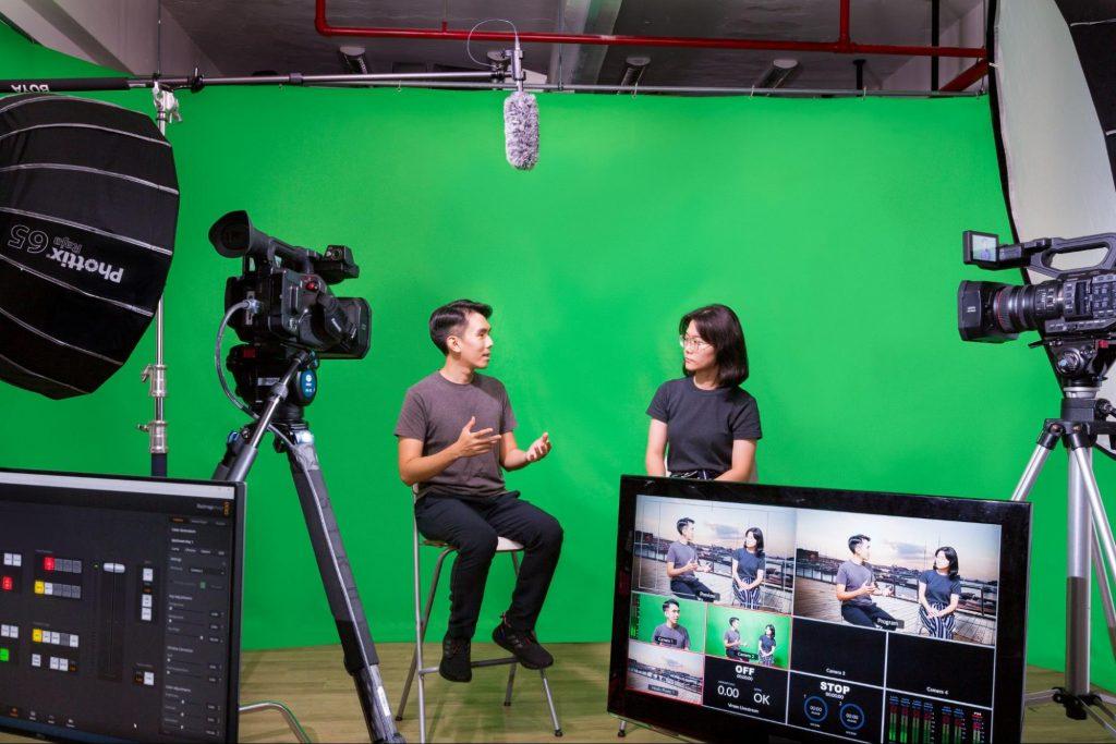 Green Screen Setup in a Corporate Video Studio